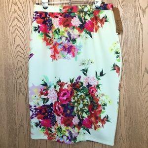 [kersh] Floral Pencil Skirt
